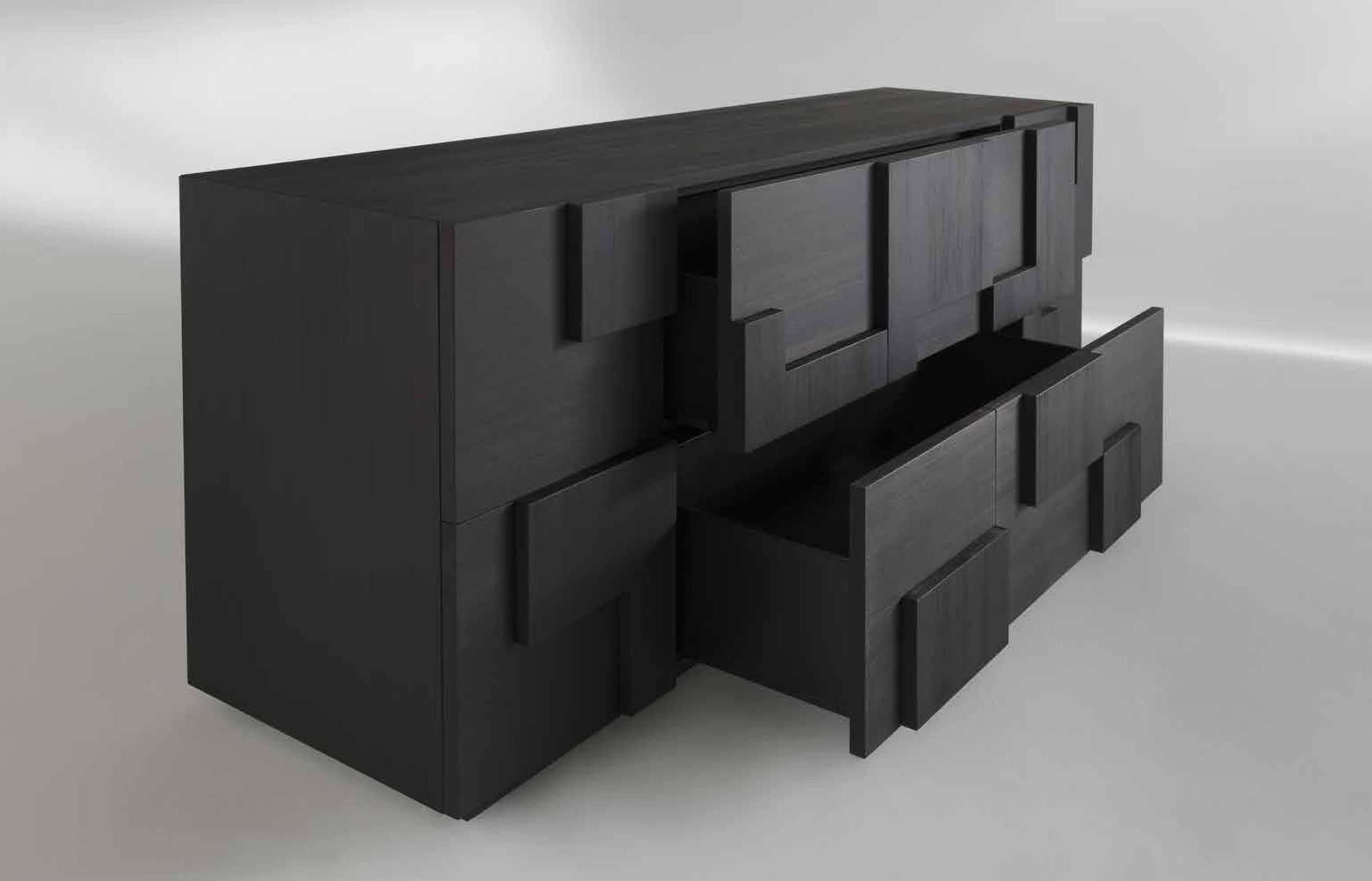 CUZCO_2 Sideboard by Albedo Design. Side view with open drawers.